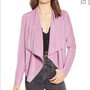 Blank NYC   Drape Front Suede Jacket in Lilac